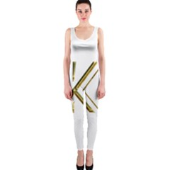 Monogrammed Monogram Initial Letter K Gold Chic Stylish Elegant Typography OnePiece Catsuit