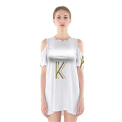 Monogrammed Monogram Initial Letter K Gold Chic Stylish Elegant Typography Cutout Shoulder Dress