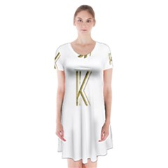 Monogrammed Monogram Initial Letter K Gold Chic Stylish Elegant Typography Short Sleeve V Neck Flare Dress