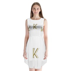 Monogrammed Monogram Initial Letter K Gold Chic Stylish Elegant Typography Sleeveless Chiffon Dress