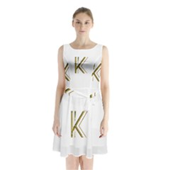 Monogrammed Monogram Initial Letter K Gold Chic Stylish Elegant Typography Sleeveless Chiffon Waist Tie Dress