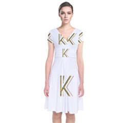 Monogrammed Monogram Initial Letter K Gold Chic Stylish Elegant Typography Short Sleeve Front Wrap Dress