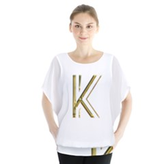 Monogrammed Monogram Initial Letter K Gold Chic Stylish Elegant Typography Blouse