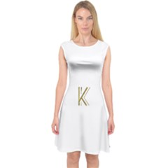 Monogrammed Monogram Initial Letter K Gold Chic Stylish Elegant Typography Capsleeve Midi Dress