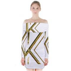 Monogrammed Monogram Initial Letter K Gold Chic Stylish Elegant Typography Long Sleeve Off Shoulder Dress