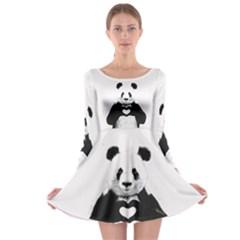 Panda Love Heart Long Sleeve Skater Dress