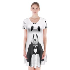 Panda Love Heart Short Sleeve V-neck Flare Dress
