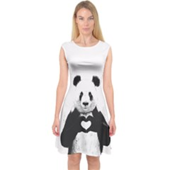 Panda Love Heart Capsleeve Midi Dress
