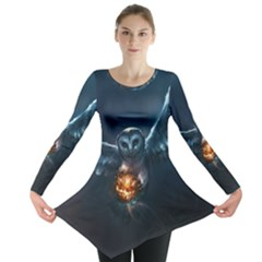 Owl And Fire Ball Long Sleeve Tunic