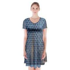 Parametric Wall Pattern Short Sleeve V-neck Flare Dress