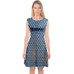 Parametric Wall Pattern Capsleeve Midi Dress