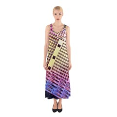 Optics Electronics Machine Technology Circuit Electronic Computer Technics Detail Psychedelic Abstract Sleeveless Maxi Dress