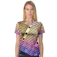 Optics Electronics Machine Technology Circuit Electronic Computer Technics Detail Psychedelic Abstract Women s V-Neck Sport Mesh Tee