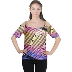Optics Electronics Machine Technology Circuit Electronic Computer Technics Detail Psychedelic Abstract Women s Cutout Shoulder Tee