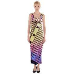 Optics Electronics Machine Technology Circuit Electronic Computer Technics Detail Psychedelic Abstract Fitted Maxi Dress