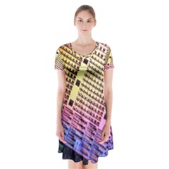 Optics Electronics Machine Technology Circuit Electronic Computer Technics Detail Psychedelic Abstract Short Sleeve V-neck Flare Dress