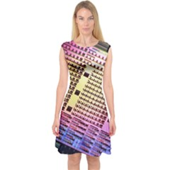 Optics Electronics Machine Technology Circuit Electronic Computer Technics Detail Psychedelic Abstract Capsleeve Midi Dress