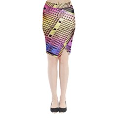 Optics Electronics Machine Technology Circuit Electronic Computer Technics Detail Psychedelic Abstract Midi Wrap Pencil Skirt