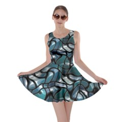 Old Spiderwebs On An Abstract Glass Skater Dress