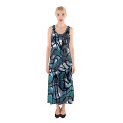 Old Spiderwebs On An Abstract Glass Sleeveless Maxi Dress