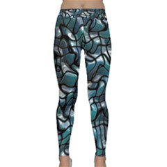 Old Spiderwebs On An Abstract Glass Yoga Leggings