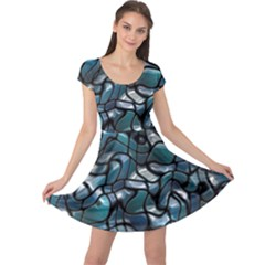 Old Spiderwebs On An Abstract Glass Cap Sleeve Dresses