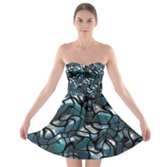 Old Spiderwebs On An Abstract Glass Strapless Bra Top Dress