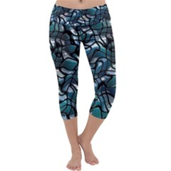 Old Spiderwebs On An Abstract Glass Capri Yoga Leggings