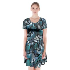 Old Spiderwebs On An Abstract Glass Short Sleeve V-neck Flare Dress