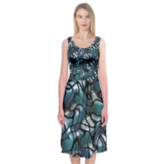 Old Spiderwebs On An Abstract Glass Midi Sleeveless Dress