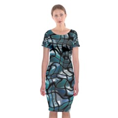 Old Spiderwebs On An Abstract Glass Classic Short Sleeve Midi Dress