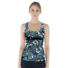 Old Spiderwebs On An Abstract Glass Racer Back Sports Top