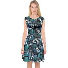 Old Spiderwebs On An Abstract Glass Capsleeve Midi Dress