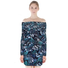 Old Spiderwebs On An Abstract Glass Long Sleeve Off Shoulder Dress