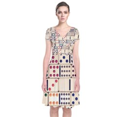 Old Domino Stones Short Sleeve Front Wrap Dress