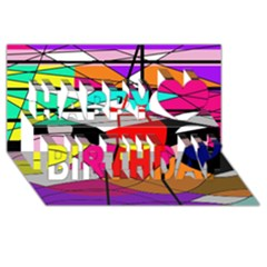 Abstract waves Happy Birthday 3D Greeting Card (8x4)