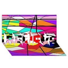 Abstract waves BELIEVE 3D Greeting Card (8x4)