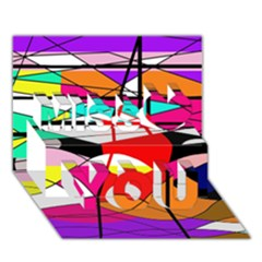 Abstract waves Miss You 3D Greeting Card (7x5)