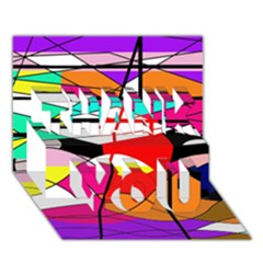 Abstract waves THANK YOU 3D Greeting Card (7x5)
