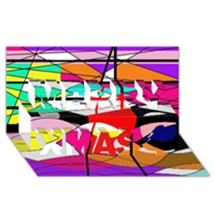 Abstract waves Merry Xmas 3D Greeting Card (8x4)