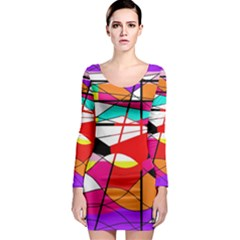 Abstract waves Long Sleeve Bodycon Dress