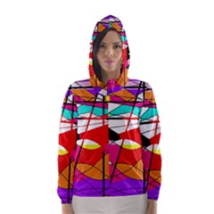 Abstract waves Hooded Wind Breaker (Women)