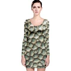 Ocean Pattern Long Sleeve Velvet Bodycon Dress