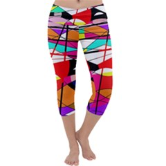 Abstract waves Capri Yoga Leggings