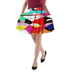 Abstract waves A-Line Pocket Skirt