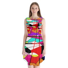 Abstract waves Sleeveless Chiffon Dress