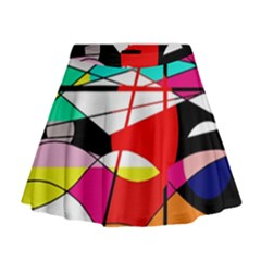 Abstract waves Mini Flare Skirt