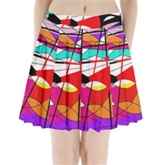 Abstract waves Pleated Mini Skirt