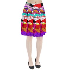 Abstract Waves Pleated Skirt