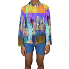 New York City The Statue Of Liberty Kids  Long Sleeve Swimwear